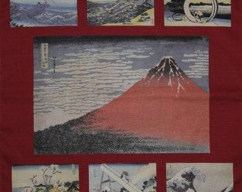 Furoshiki Cloth Red 'Hokusai Aka Fuji Collection' Cotton Japanese Fabric w/Free Insured Shipping