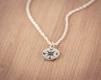 Compass Necklace, Sterling Silver Compass, Travel Compass charm, Compass Pendant, Graduation Gifts, Friendship necklace