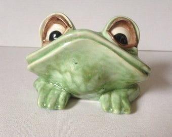 Frog Ornament, Ceramic Frog, Frog Figurine, Frog Gift, Amphibian, Unusual Gift, Frog Collectors, Green Frog, Small Gift, Novelty Frog, Frog