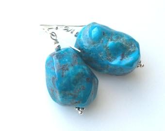 Turquoise Earrings, Turquoise Nugget Earrings, Turquoise Sterling Earrings