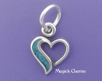 Blue HEART Charm .925 Sterling Silver MINIATURE Small - elp639