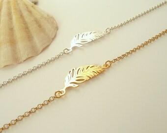 Sterling Silver Feather Bracelet, Boho Bracelet, Feather Charm Bracelet, Minimalist Bracelet, 925 Sterling Silver Jewelry