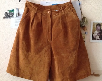 70s Camel Suede Shorts Wide Leg Culottes Skorts US 6 Small Medium