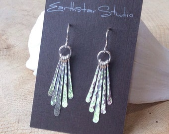 Hammered Silver Dangle Earrings, Argentium Sterling