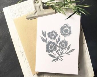 Peony Note Cards [Dark Blue] 10pk