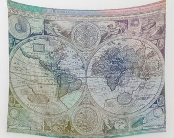 World Map Wall Tapestry  - colorful antique map print, beautiful map, travel decor, dorm decor,  wall atlas, beautiful color, dorm decor