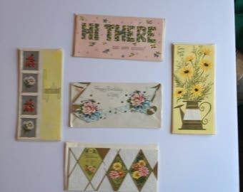 Unused Vintage greeting cards (5) with Envelopes