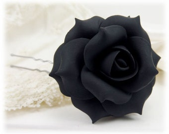 Black Rose Hair Clip Pin - Black Rose Hair Flower, Black Flower Hair Pin