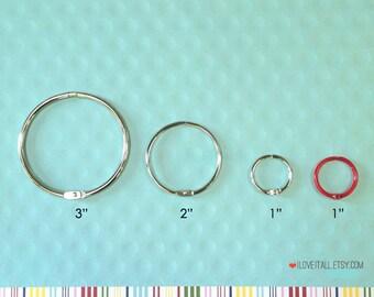 """Washi Storage Ring . 2 Inch Snap Book Binder Rings . Floss Storage . Silver Metal Ring Hinges . Set of 2 . 2"""" Round Split Ring . Tape Holder"""