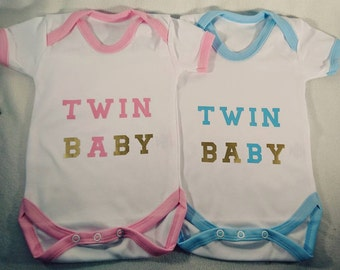 Novelty Twin A B Baby Bodysuits Vest Babygrow Personalised Boy Girl Neutral