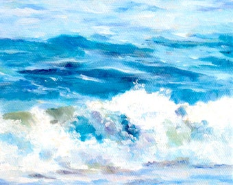 Beach Blues, 6x6 Oil on Canvas, Surf Art, Daily Painting, Beach Decor, Blue and White, FREE SHIPPING in US