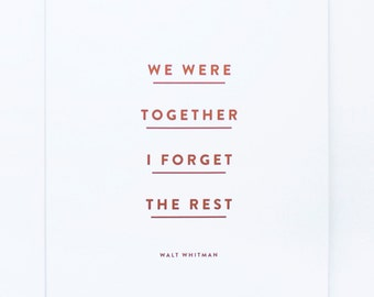 We Were Together - Copper Foil Print