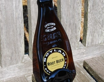 Boylan Root Beer Bottle - Recycled Fused Glass Tray - Spoon Rest - Gift