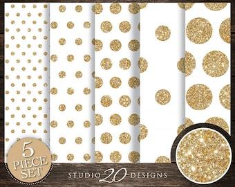 50% OFF! Instant Download White Gold Digital Paper, 12x12 Printable Gold Glitter Digital Paper, White Gold Polka Dot Background 20DPC