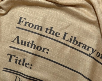 Book Scarf. Library scarf. Library scarf with day due stamps. Print scarf. Beige scarf