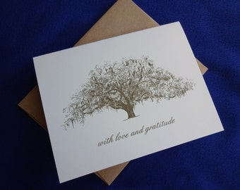 Rustic Tree Themed Wedding Thank You Notes - Free Personalization - Set of 25