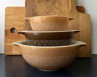 vintage Pyrex Woodland cinderella bowl set of 3 brown tan 441 442 and 443 1970s