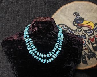 Multi Strand Turquoise Necklace, Multi Strand Statement Necklace, Multi Layer Necklace, Chunky Turquoise Necklace, Turquoise Nugget Big