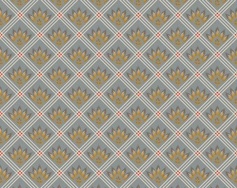 French Courtyard, French Check Gray Cotton Fabric by the Yard or Half Yard Fabric, or fat quarter,  Quilting Fabric, RB17