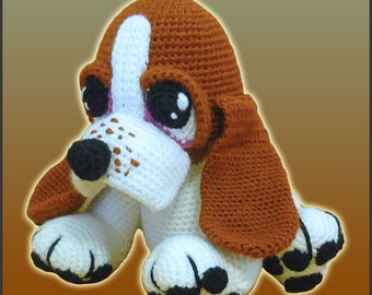 Amigurumi Pattern Crochet Boris Basset Hound Puppy Dog DIY Digital Download