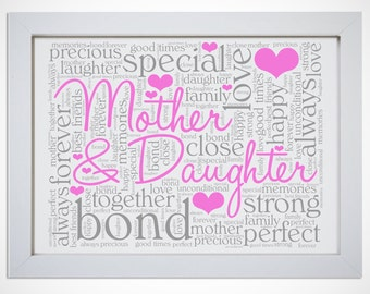 Personalised Mother & Daughter Typography Picture Word Art Print Birthday Mothers Day Gift Mum