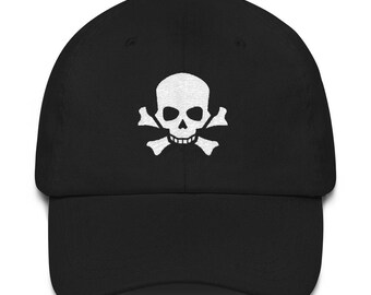 Skull and Crossbones Pirate Skeleton Cool Rock and Roll Embroidered Hat
