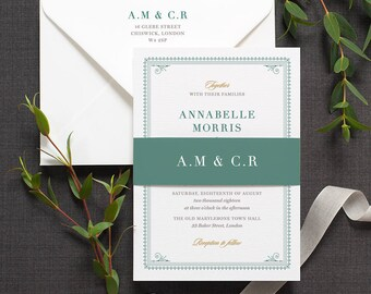 Elegant Traditional Wedding Invitation / 'Bloomsbury' Classic Vintage Wedding Invite / Teal Green Forest Green / Custom Colours / ONE SAMPLE