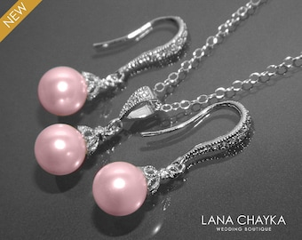 Pink Pearl Earrings Necklace Set STERLING SILVER Blush Pink Drop Small Pearl Set Swarovski 8mm Rosaline Pearl Set Bridal Bridesmaid Jewelry