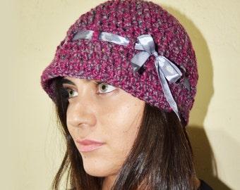 Newsboy brim hat with ribbon - FUCHSIA & GREY - womens teen girls - accessories - gift