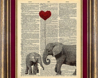 Elephant LOVE Unique gift Dictionary Page ORIGINAL art print book page art print up cycled