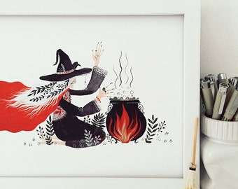 Witch cooking potion Art Print