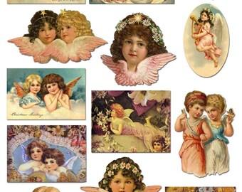 Petits anges victoriennes imprimables Collage de la feuille - Images Vintage doux - Images numériques - téléchargement immédiat
