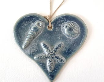 Pottery Heart Ornament - Holiday Decoration -  Ceramic Beach Ornament - Ceramic Ocean Heart Ornament with Sea Shells and Starfish Blue
