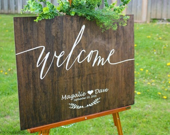 Wooden Welcome Sign.  Wooden Wedding Welcome Sign.  Wedding Welcome Sign.  Welcome Sign. Welcome Wedding Sign. Welcome Sign for Party.
