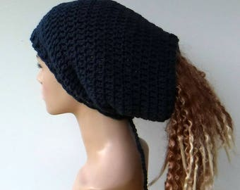 2 in 1 Dread tube or slouchy hat, dreadlocks beanie with open back/dark denim blue tam hat, woman tube hat for dreads/drawstring slouchy hat