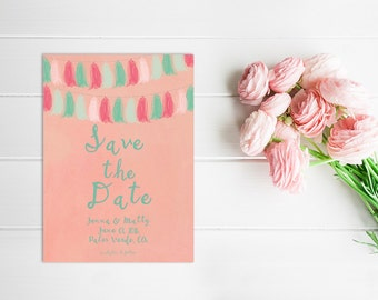 Bunting Garland Banner Save The Date Cards / PRINTED Save-The-Date / Coral Pink Mint Aqua Wedding Bunting / Wedding Garland / Wedding Banner