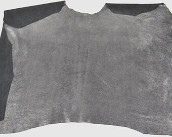 Black nubuck leather cowhide leather