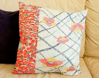 Vintage Japanese Kimono Cushion | Pillow | Shibori  Camelia | Cover Only