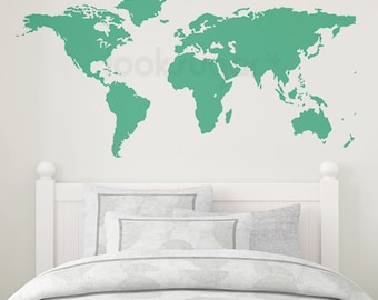 World Map Wall Sticker - World Map Decal for Kids - 0111