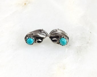 Vintage Sterling Navajo Turquoise Stud Earrings