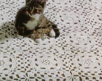 492 Daisy Motif Bedspread Vintage Crochet Pattern PDF from WonkyZebra