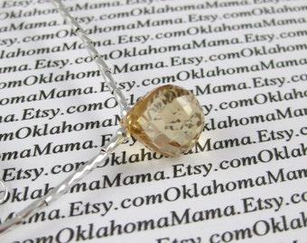 Rock Candy Cubic Zirconia Briolette Necklace with Liquid Silver PEACH TEA