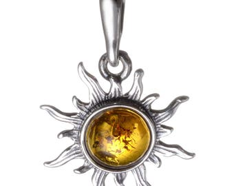 Sterling Silver and Baltic Amber Sun Pendant