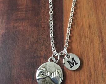 KIDS SIZE - Pinky swear initial necklace, best friends jewelry, BFF necklace, pinky swear jewelry, best friends necklace, best friends