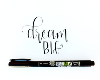 Tombow Fudenosuke Brush Pen BLUE barrel - tombow hard/fine tip pen for handlettering, drawing  and calligraphy