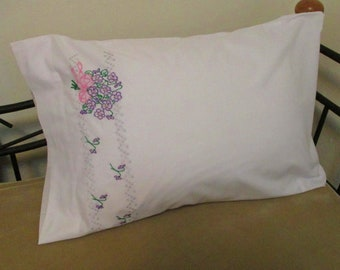 Vintage Thomaston Hand Embroidered Purple Violet Bouquet Single Poly Cotton Pillowcase