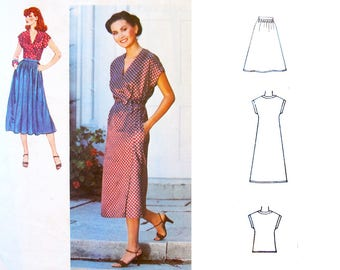 Womens' Wrap Dress Top and Skirt 1970's Style VINTAGE Sewing Pattern SIMPLICITY 8902: 1979 - Bust 32.5 inches