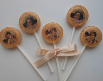Set 6 Angels Theme Lollipops hand made in different flavors and colors adjustable