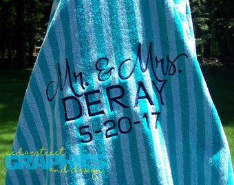 Oversized Beach Towel for Two - Mr. and Mrs. Beach towel - Family Beach Towel - Couples Towel - Honeymoon Beach Towel - Just Married Towel