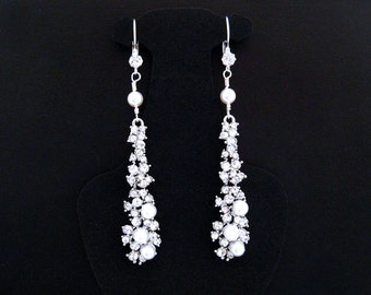 Long Rhinestone Earrings,Quinceanera Earring,Special Occasion Earrings,Special Occasion Jewelry,Rhinestone Earrings,Rhinestone Pearl Earring